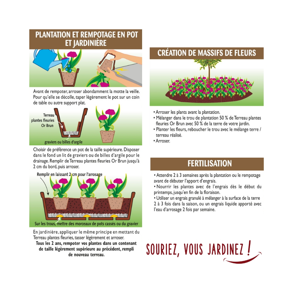 Terreau plantes fleuries  3 actions Or Brun 40L